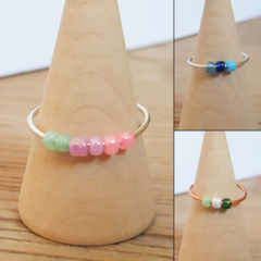 Seed bead anxiety ring, Minimalist glass fidget bead ring, Anxiety bead ring