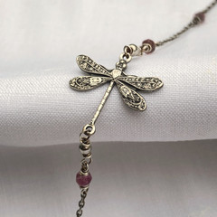 Silver and Pink Tourmaline Antique Dragonfly Anklet