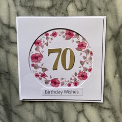 Custom Made Card - You choose the Occasion and Number of Years - Pink Wreath
