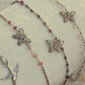 Silver and Pink Tourmaline Butterfly Anklet
