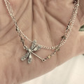 Silver and Tourmaline Double Chain Dragonfly Anklet