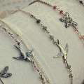 Silver and Green Tourmaline Swallow Anklet