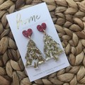 Recycled Gold Glitter Christmas Tree with Heart Stud   Eco