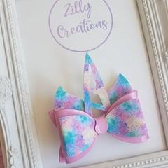 pink and rainbow unicorn hair bow