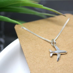 Tiny Plane - Handmade Solid Sterling Silver Aeroplane Pendant with Fine Chain