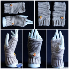 Fingerless gloves, wrist warmer in  neutral colour with wooden button