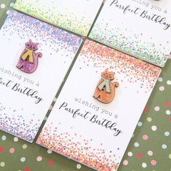 4 Mini Cat Birthday Cards, Wishing You A Purrfect Birthday, Cat Lover