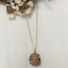 Raw sunstone gold filled 45cm chain