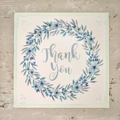 Greeting Card Floral Heart Wreath Aqua - Thank You