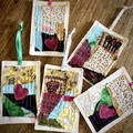 Fabric collage greeting card
