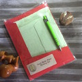 Pale Green Handmade Paper Writing Set in Red Folio