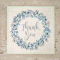 Greeting Card Floral Heart Wreath Aqua - Thank You