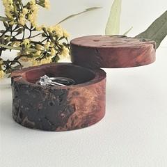 Handmade rustic turned wooden  ring box, Engagement ring box. Wedding ring box,