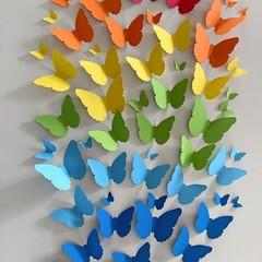 Rainbow Butterfly wall decorations. Cardstock butterflies. Wedding, birthdays.