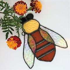 Honeybee Stained Glass Suncatcher 16x12cm