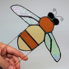 Honeybee Stained Glass Planter Stake