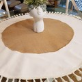 $45 - Round Table Center Decor. Beautiful cotton and jute with cream tassels wil