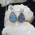 Stunning Australian Opal Silver Earrings