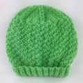 Newborn Baby Gift Set | Beanie / Hat | Pair Booties | Hand Knitted | Apple Green