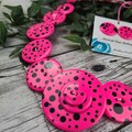 Disco Dot - 80's neon pink  - Resin Button Necklace and Earrings