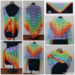 Stunning soft colours rainbow shawl in cotton - FREE SHIPPING