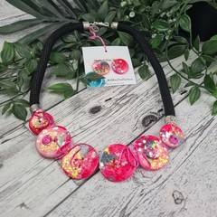 Gazing Glittering Pin Sunset - Button Fusion Necklace - Button Jewellery