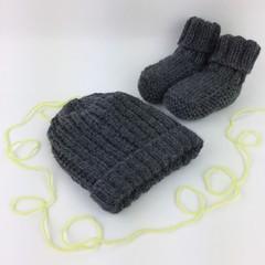 Newborn Baby Gift Set | Beanie / Hat | Pair Booties | Hand Knitted | Dark Grey