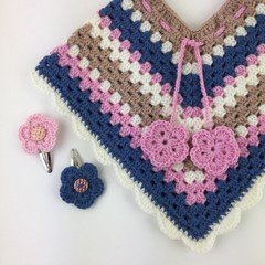 Pure Wool Crochet Poncho | 6 - 12 Months | Girls | Hand Crocheted | Baby Gift