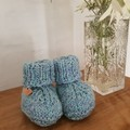 Knitted Baby Booties, Australian Bendigo wool, Newborn, Gender neutral, Unisex