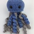 Crochet Jellyfish Softie   Toy   Wool Bamboo   Gift Idea   Hand Crocheted   Blue