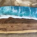 Ocean inspired resin coated wooden serving board 57x17cm