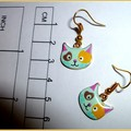 Three pairs of earrings. Cats. blue flowers, smiley flowers