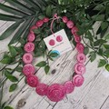 Stars of Pink -  Sparkle Glitter  - Resin Button Necklace and Earrings