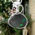 Australian Andamooka Opal green sparkle Sterling pendant