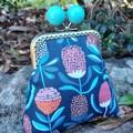 Blue bead coin purse