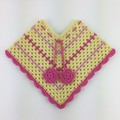 Pure Wool Crochet Poncho   6 - 12 Months   Girls   Hand Crocheted   Baby Gift