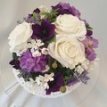 Cake Topper White and Purple Silk Roses