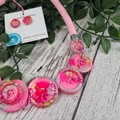 Party Pop Gilttering Pink - Button Fusion Necklace - Button Jewellery