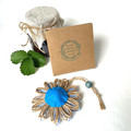 Gift Boxed Bloom Rustic Decor Keepsake Flower Cupcake Button Blue Natural