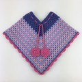 Pure Wool Crochet Poncho   1 - 2 Years   Girls   Hand Crocheted   First Birthday