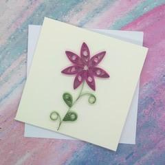 Mini Card Hot Pink Flower