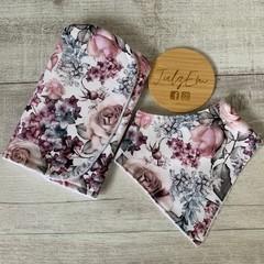 Floral burp cloth bandana bib set, baby girl shower gift
