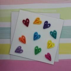 Mini Card Rainbow Hearts