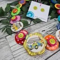 Combi Road Trip - Button Necklace - Button Earrings