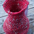 Crocheted 'jar' made from cotton and newspaper yarns. Eco-friendly homeware