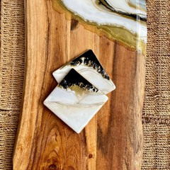 Black & Gold Geode | Personalised Serving Board | Cheese Board | Coaster Set