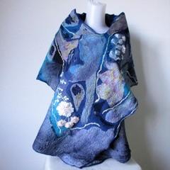 Felted Scarf Wool Silk Nuno Felt Wrap Shawl Blue