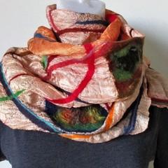 Felted Silk Scarf Nuno Felt Wrap Shawl Very Light Colorful