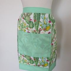 Adult half apron - cactus & mint