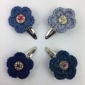 4 x Crocheted Flower Hair Clips | Blue & Teal | Hand Crochet | Party Favour